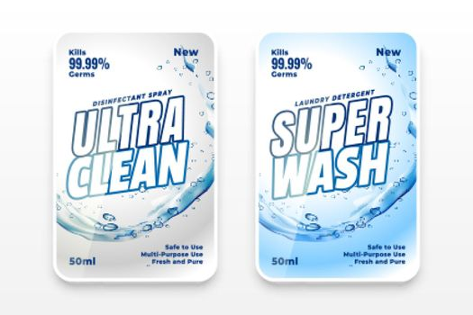 super wash and cleaner label template design