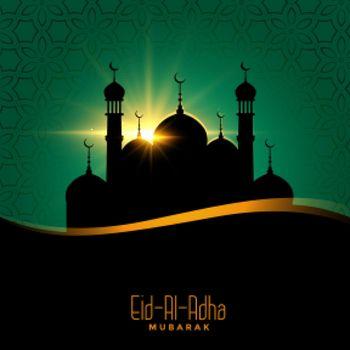 eid al adha beautiful background with mosque design