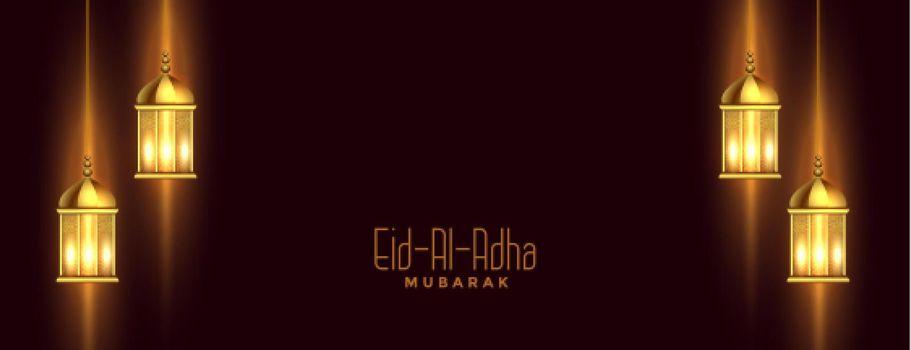 eid al adha banner with islamic lantern decoration