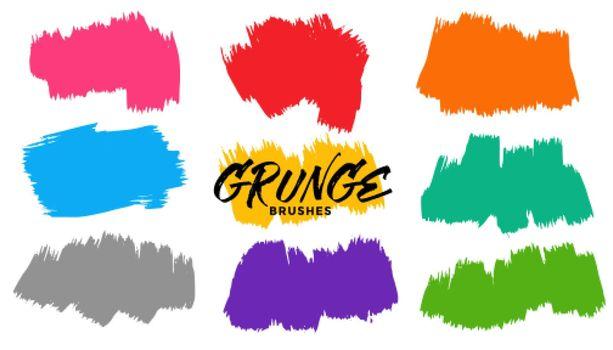 grunge brush stroke background set of nine