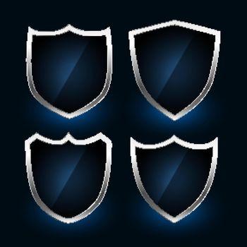 metallic shield symbols or badges design set