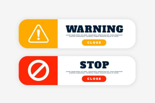 warning and stop sign button for web purpose