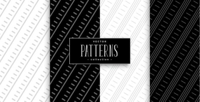 black and white diagonal lines geometric pattern set