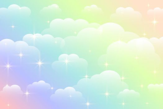 dreamy rainbow color beautiful clouds background design