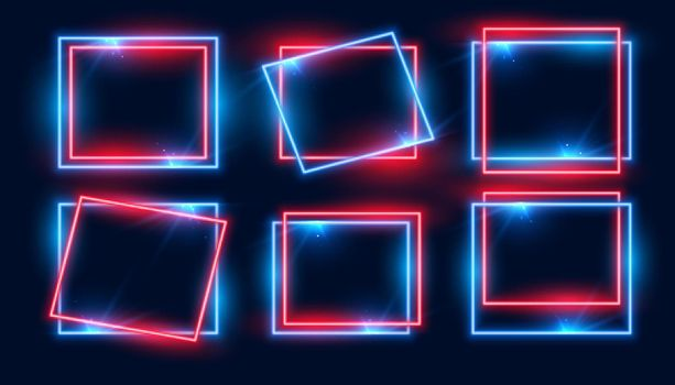 red and blue rectangular neon frames set of six