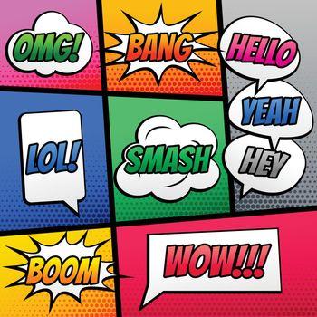 comic text speech expression effect on book strip