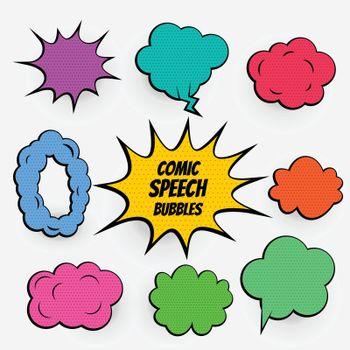 cartoon comic speech bubbles in many colors