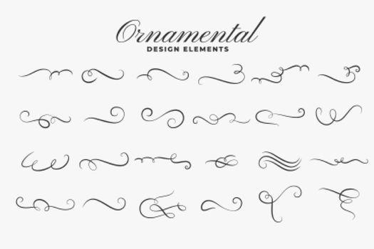 classic ornamental curls borders or dividers set