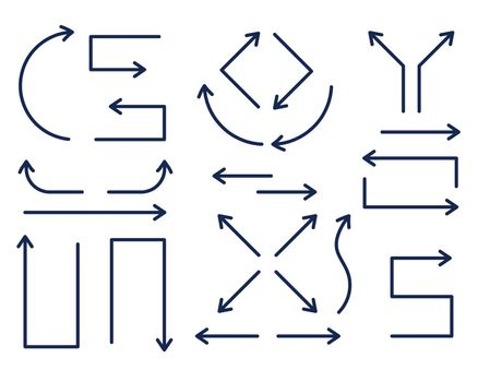set of directional arrows in thin line style