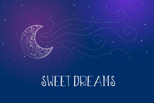 dreamy magical sweet dreams background with decorative moon