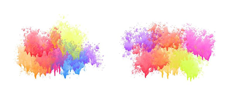colorful watercolor drips set on white background