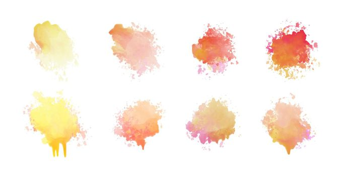 set of eight watercolor stain set design