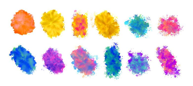 watercolor stain textures set in many colors