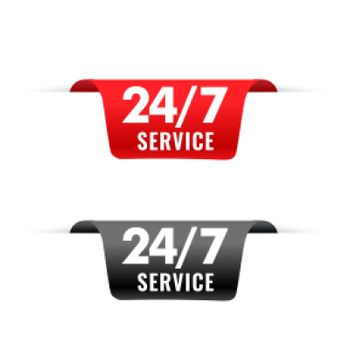 24 hour service ribbons tag in 3d style