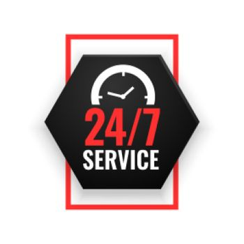 24 hour service background with clock design