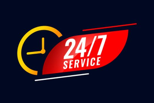 24 hour and 7 days service background with clock
