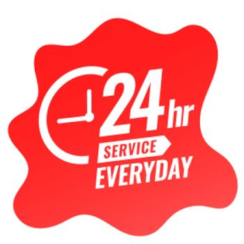 24 hour service everyday background with clock design