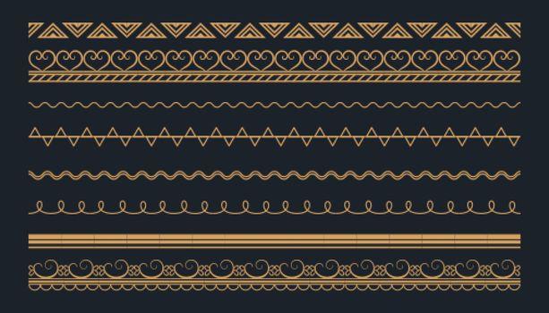 boho style ethnic borders pattern set design