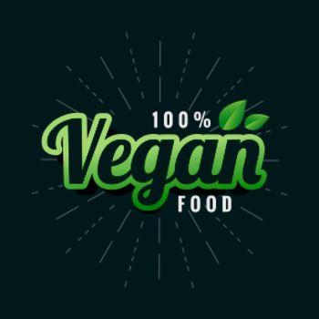 vegan green food label design