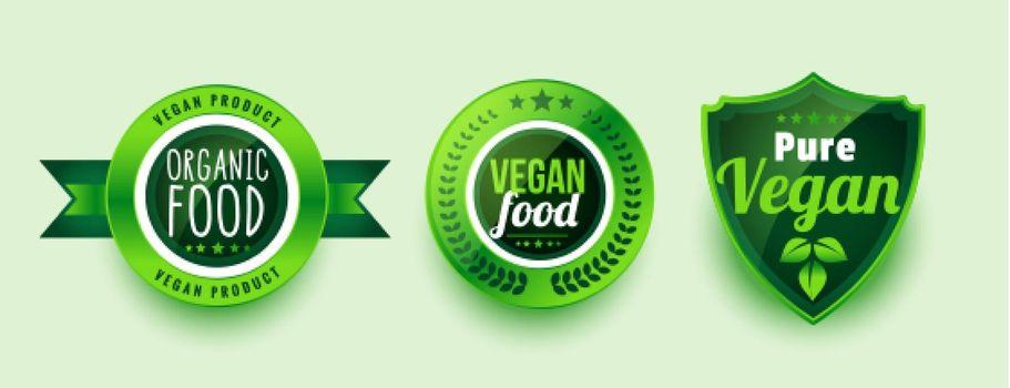 pure organic vegan food labels or stickers