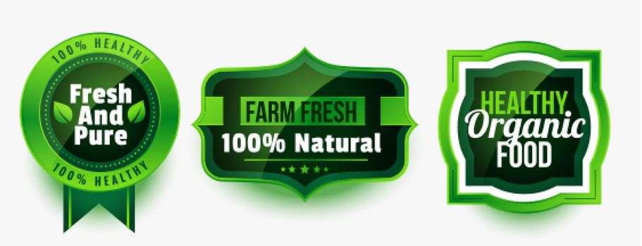set of healthy organic pure food labels or stickers