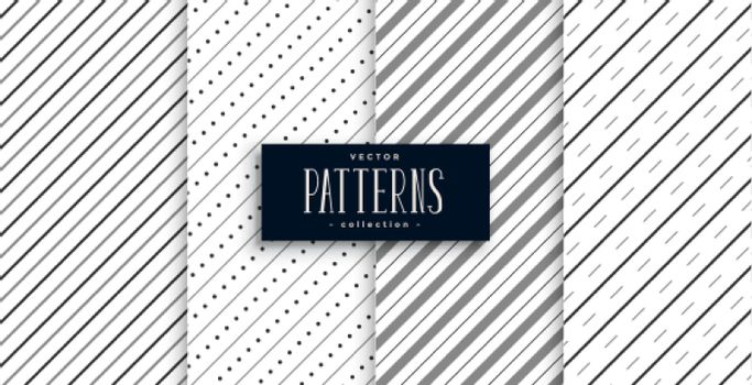 diagonal stripes lines pattern set of four