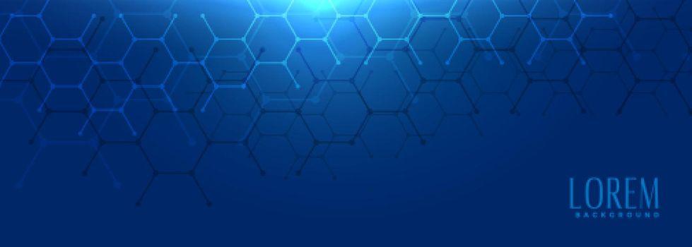 hexagonal shape blue wide banner design
