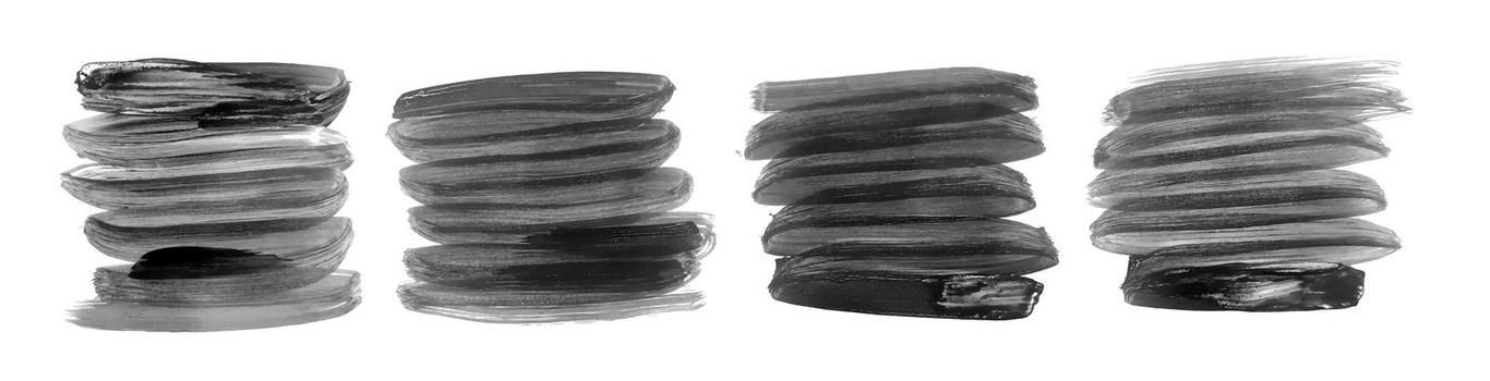 black and gray hand painted brush strokes set of four