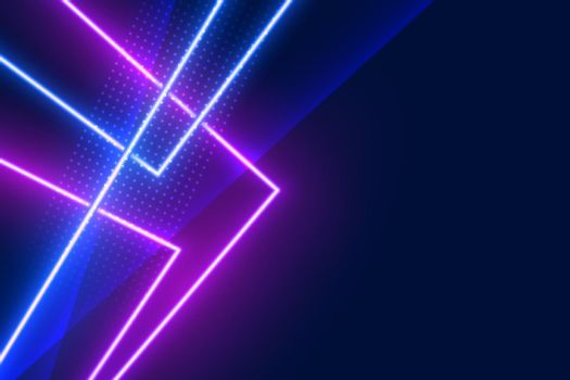 blue and purple geometric neon light effect lines background