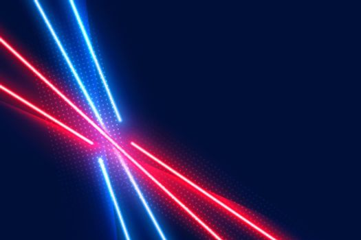 neon led light effect lines in blue and red colors