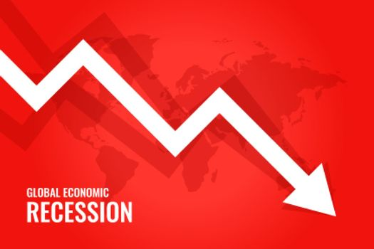 global economic recession downfall arrow red background
