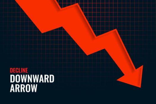 business decline downward arrow trend background design