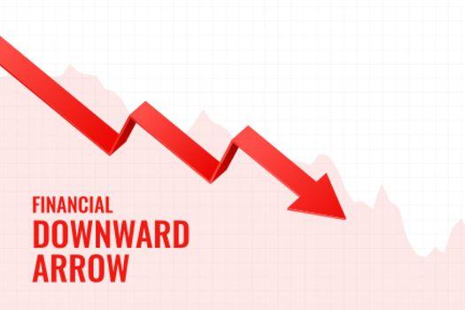 financial decline downward arrow trend background design