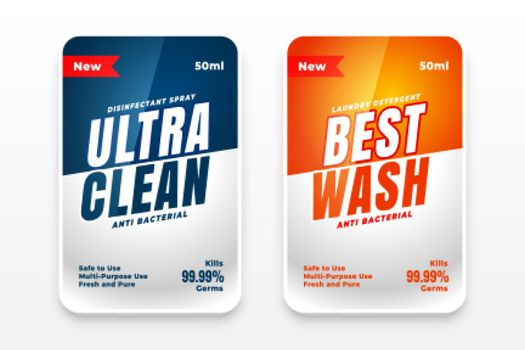 best clean detergent labels set of two