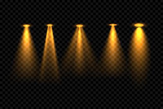 five golden focus spotlight effect background design
