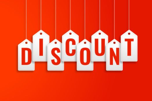 discount hanging price tags on red background