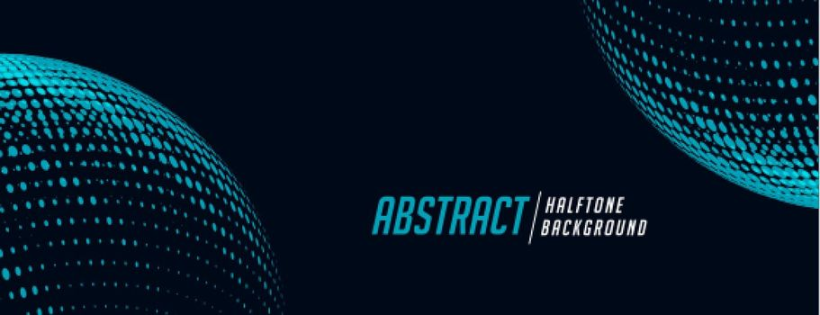 spherical halftone banner in blue and black shades