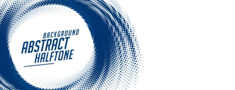 abstract swirl halftone blue banner on white background