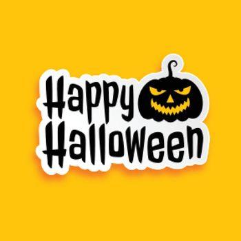 happy halloween sticker design in flat style