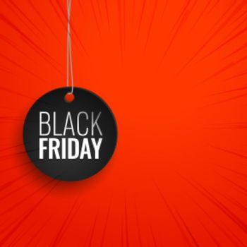black friday hanging tag on red background