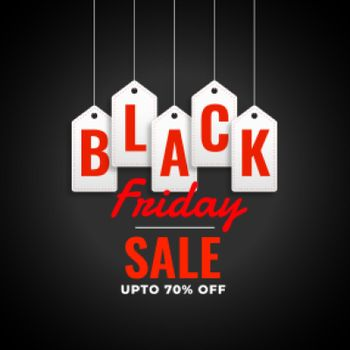black friday sale background with hanging tags