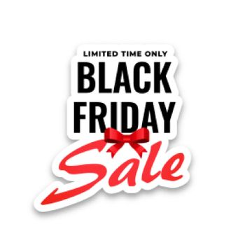 black friday sale sticker on white background