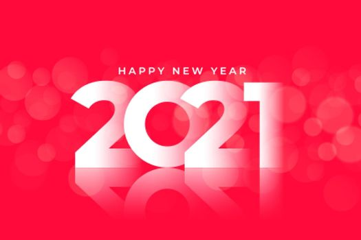 glossy 2021 happy new year red background design
