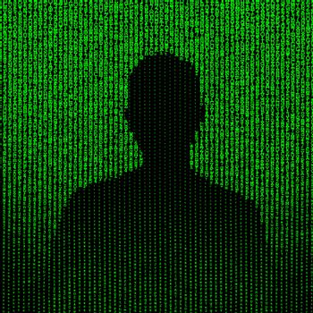 Man silhouette matrix illustration, green vertical lines of random letters and digits on black background