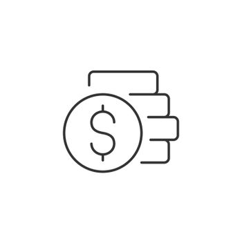 Coins Stack with Dollar Related Vector Line Icon. Sign Isolated on the White Background. Editable Stroke EPS file. Vector illustration.