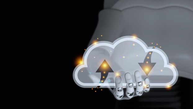Hand of cyborg is holding transparent glass cloud 3d render