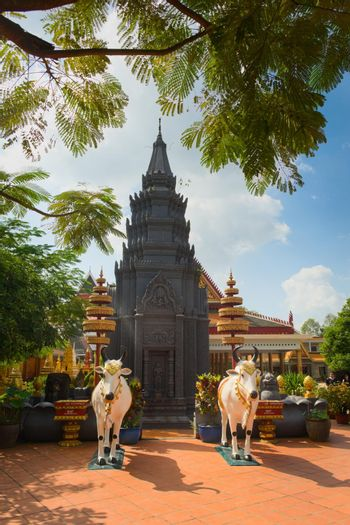 2019-11-16 / Siem Reap, Cambodia - Black stupa in Wat Preah Prom Rath, a buddhist temple complex built in the 13th century.
