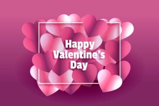 lovely shiny hearts happy valentines day frame