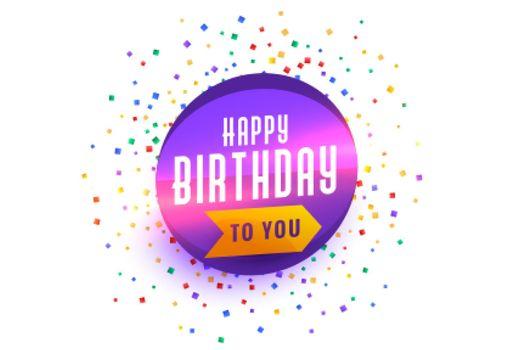 happy birthday wishes background with confetti burst