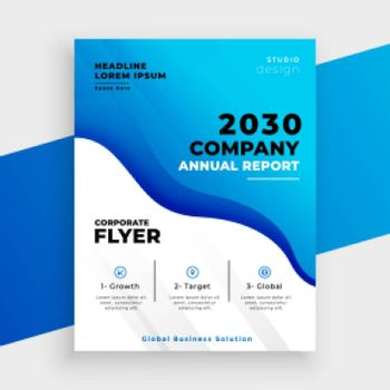 blue abstract business annual report template design